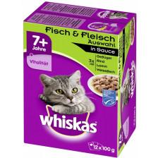 Whiskas 7+ Fisch & Fleischauswahl in Sauce 12x 100G