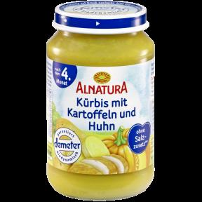 Alnatura Bio Kürbis mit Kartoffeln und Huhn, nach dem 4. Monat 190 g