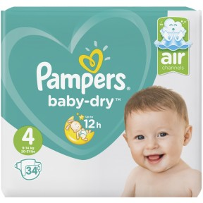 Pampers Baby-Dry Windeln Gr. 4 9-14kg