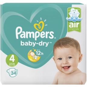 Pampers Baby-Dry Windeln Gr. 4 9-14 kg 34 Stück