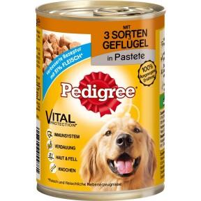 Pedigree Classic mit 3 Sorten Geflügel in Pastete Hundefutter nass