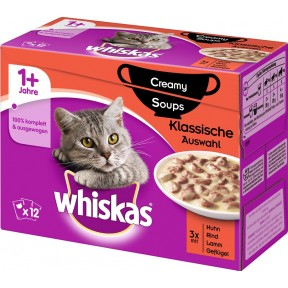 Whiskas 1+ Creamy Soups Klassische Auswahl Katzenfutter nass Multipack