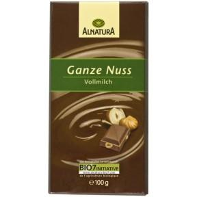 Alnatura Bio Ganze Nuss Vollmilch Schokolade 100 g