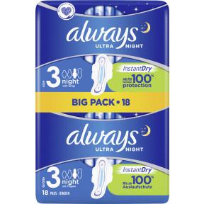 Always Ultra Night mit Flügeln Größe 3 Damenbinden Big Pack 18ST
