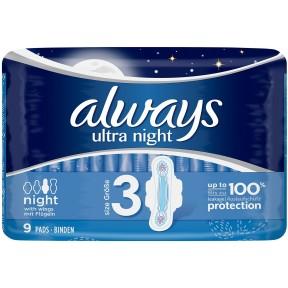 Always Binden Ultra Night mit Flügeln Größe 3 9 Stück