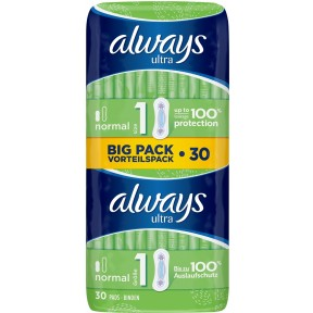 Always Binden Ultra Normal Big Pack Vorteilspack Größe 1 30 Stück