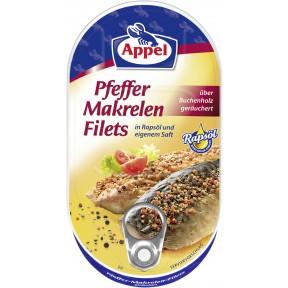 Appel Pfeffer Makrelen Filets in Rapsöl und eigenem Saft
