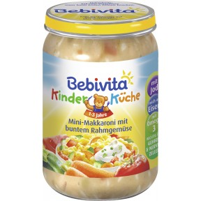 Bebivita Kinderküche Mini-Makkaroni mit buntem Rahmgemüse 1-3 Jahre