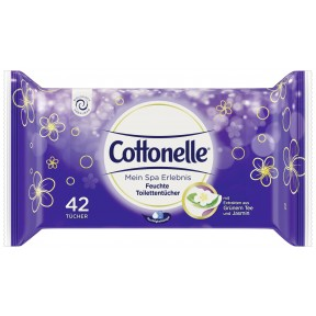 Cottonelle Mein Spa Erlebnis Feuchte Toilettentücher mit Extrakten aus Grünem Tee & Jasmin