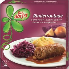 Du darfst Rinderroulade in aromatischer Sauce mit würzigem Rotkohl und Kartoffelpüree 400G
