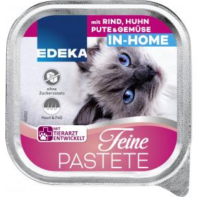 EDEKA Feine Patete In-Home mit Rind, Huhn, Pute & Gemüse Katzenfutter nass 100G