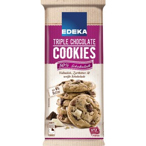 EDEKA Triple Chocolate Cookies 200 g