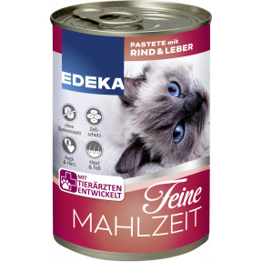 EDEKA Feine Mahlzeit Pastete mit Rind & Leber Katzenfutter nass 400 g