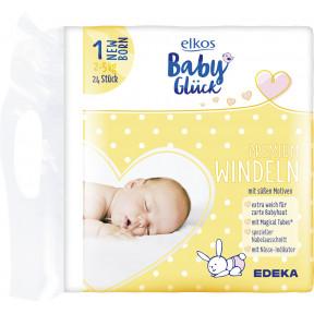 elkos Babyglück Windeln Größe 1 Newborn 2-5 kg 24 Stück