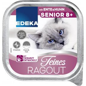 EDEKA Feines Ragout Senior 8+ mit Ente und Huhn Katzenfutter nass 100G