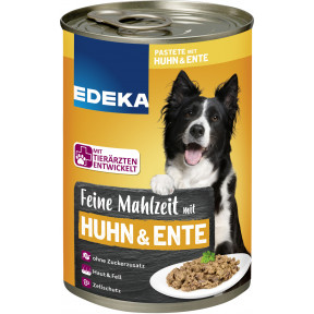 EDEKA Feine Mahlzeit mit Huhn & Ente Hundefutter nass 400G