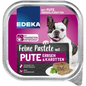 EDEKA Feine Pastete mit Pute, Erbsen & Karotten Hundefutter nass 300G