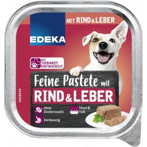 EDEKA Feine Pastete mit Rind & Leber Hundefutter nass 150G