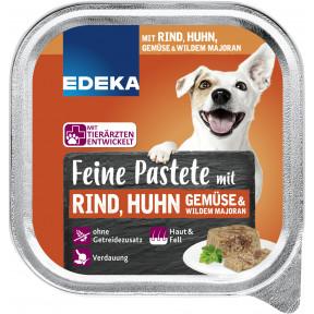 EDEKA Feine Pastete mit Rind,Huhn, gemüse & wildem Majoran Hundefutter nass 150G