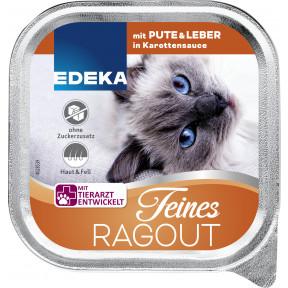 EDEKA Feines Ragout mit Pute & Leber in Karottensauce Katzenfutter nass 100G
