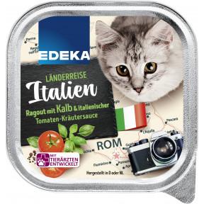 EDEKA Länderreise Italien Ragout mit Kalb & italienischer Tomaten-Kräutersauce Katzenfutter nass 100G
