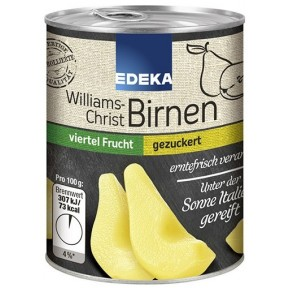 EDEKA Williams Christ Birnen gezuckert viertel Frucht 225 g