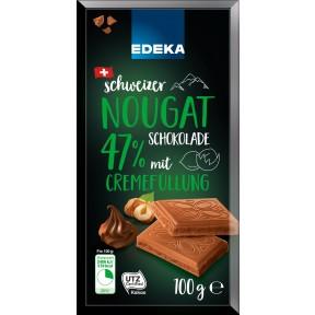 EDEKA Schweizer Nougat Schokolade mit 47% Cremefüllung