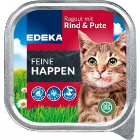 EDEKA Feine Happen Rind & Pute Nassfutter für Katzen 100 g