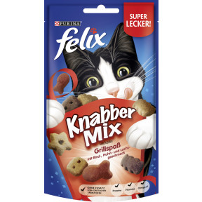 Felix Knabbermix Leckerlis Grillspass mit Rind-, Huhn und Lachsgeschmack 60G