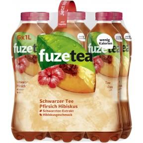 Fuze Tea Schwarzer Tee Pfirsich Hibiskus 6x 1 ltr PET