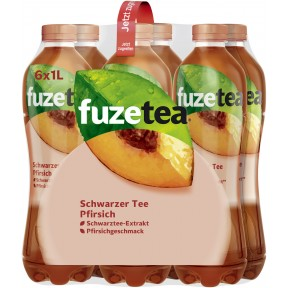 Fuze Tea Schwarzer Tee Pfirsich 6x 1 ltr PET