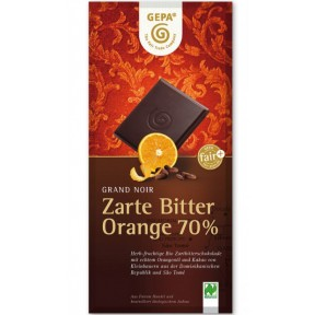 GEPA Fairtrade Grand Noir Orange Bio Schokolade 70% Cacao 100 g