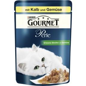 Gourmet Perle Erlesene Streifen mit Kalb und Gemüse Nassfutter für Katzen