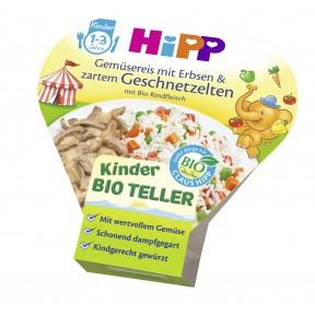Hipp Bio Kinder Teller Gemüsereis mit Erbsen & zartem Geschnetzelten ab 1 Jahr 250 g
