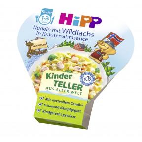 Hipp Bio Kinder Teller aus aller Welt Nudeln mit Wildlachs in Kräuterrahmsauce ab 1 Jahr