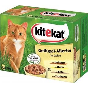 Kitekat Geflügel-Allerlei in Gelee Katzenfutter nass 12x 100 g