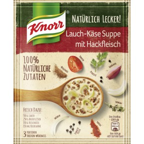 Knorr Natürlich Lecker Lauch-Käse Suppe mit Hackfleisch