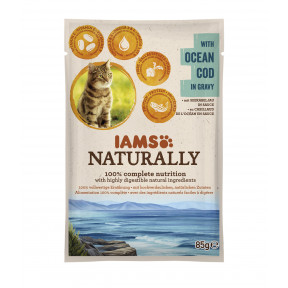 IAMS Naturally mit Kabeljau Katzenfutter nass 85G