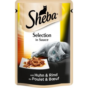 Sheba Selection in Sauce mit Huhn & Rind Katzenfutter nass Beutel