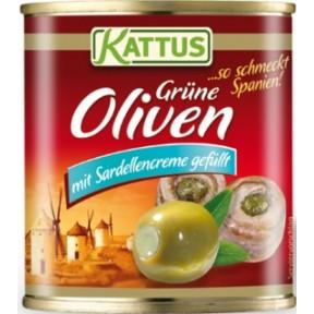 Kattus Oliven mit Sardellencreme gefüllt