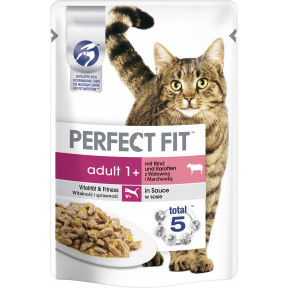 Perfect Fit Adult 1+ Rind Katzenfutter nass 85G