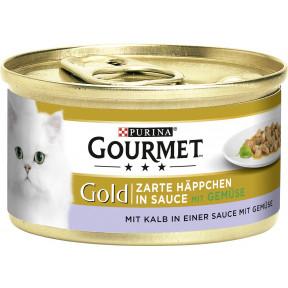 Purina Gourmet Gold Zarte Häppchen mit Kalb in Sauce und mit Gemüse Katzenfutter nass 85 g