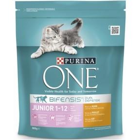 Purina One Cat Bifensis Junior reich an Huhn & Vollkorn-Getreide Katzenfutter trocken 0,8 kg