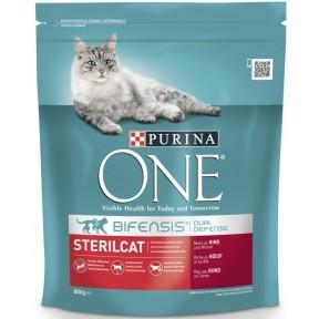 Purina One Cat Bifensis Sterilcat reich an Rind & Weizen Katzenfutter trocken 0,8 kg