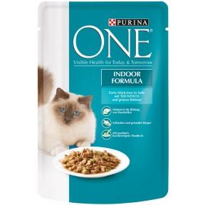 One Cat Indoor Formula zarte Stückchen in Soße mit Thunfisch Katzenfutter nass 85 g