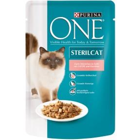 One Cat Sterilcat zarte Stückchen in Soße mit Lachs und Karotten Katzenfutter nass 85 g