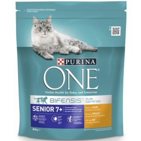 Purina One Cat Bifensis Senior 7+ reich an Huhn & Vollkorn-Getreide Katzenfutter trocken 0,8 kg