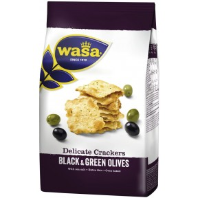 Wasa Delicate Crackers Black & Green Olives 150 g