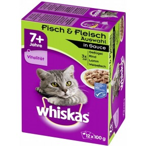 Whiskas 7+ Fisch & Fleischauswahl in Sauce Katzenfutter nass 12x 100 g