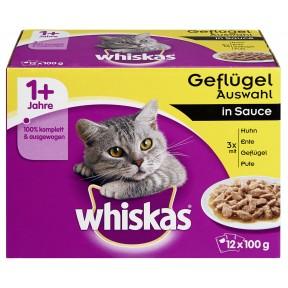 Whiskas 1+ Geflügelauswahl in Sauce Katzenfutter nass Multipack